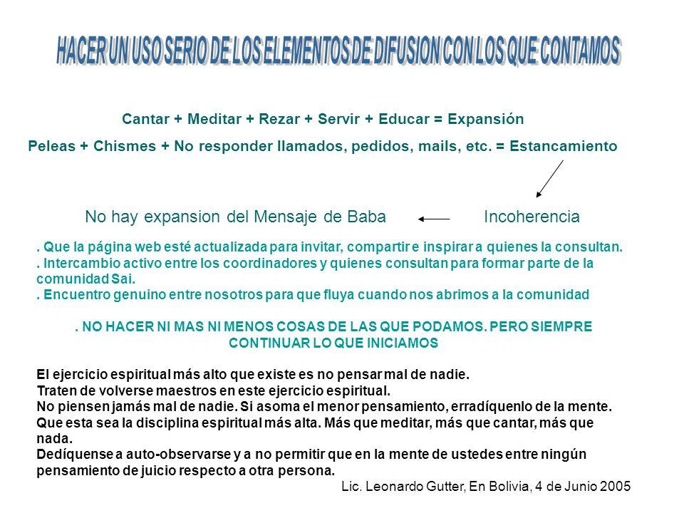 Cantar + Meditar + Rezar + Servir + Educar = Expansión Peleas + Chismes + No responder llamados, pedidos, mails, etc.