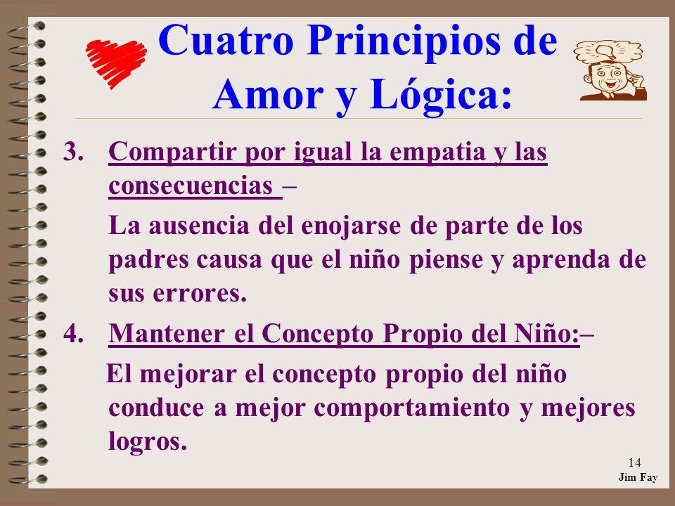 Jim Fay 14 Cuatro Principios de Amor y Lógica: 3.Compartir por igual la empatia y las consecuencias – La ausencia del enojarse de parte de los padres causa que el niño piense y aprenda de sus errores.