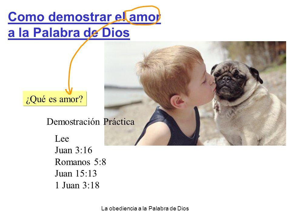 La obediencia a la Palabra de Dios Como demostrar el amor a la Palabra de Dios ¿Qué es amor? Demostración Práctica Lee Juan 3:16 Romanos 5:8 Juan 15:1