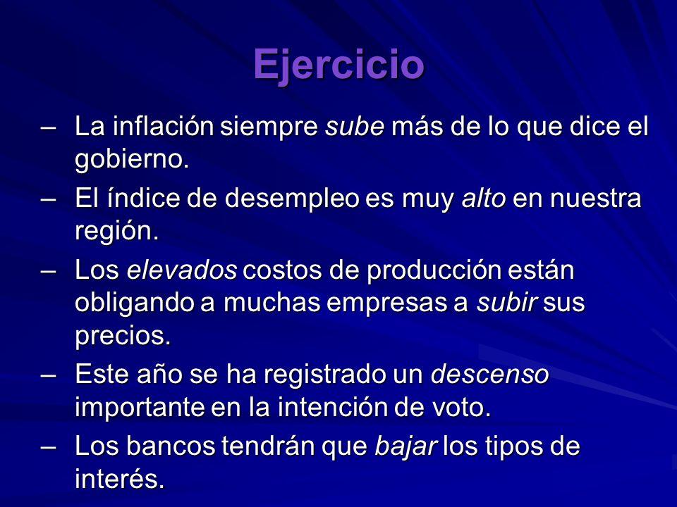 Ejercicio –La inflación siempre sube más de lo que dice el gobierno.