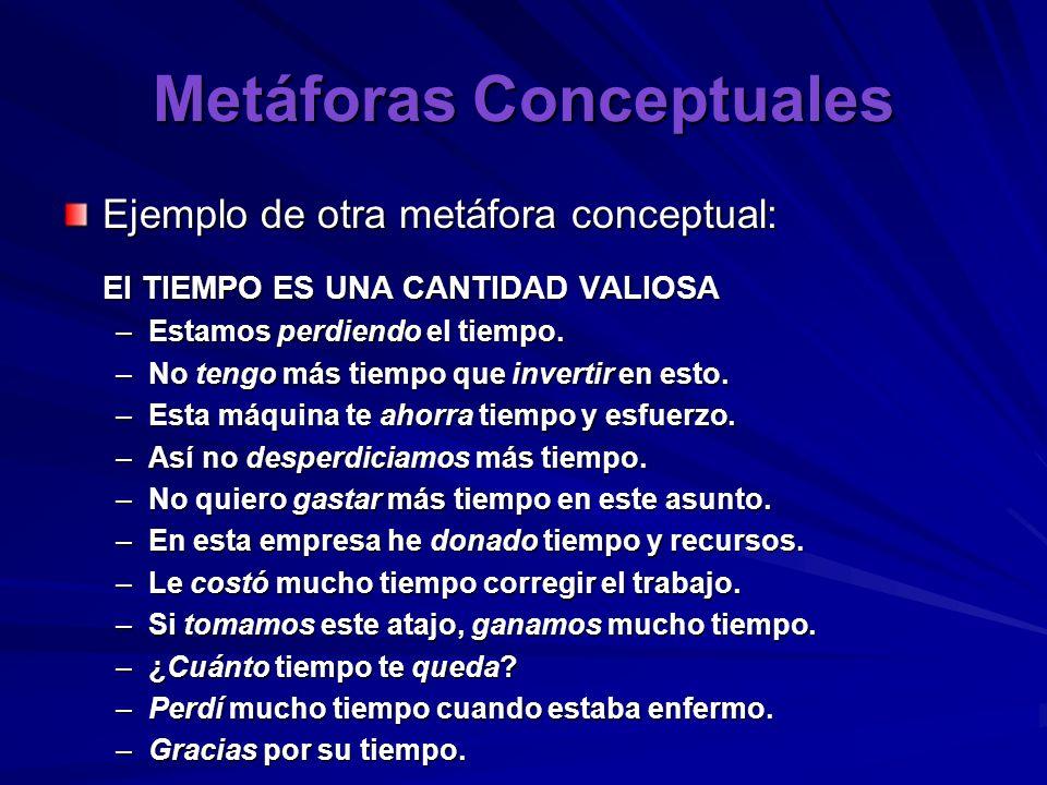 Metáforas Conceptuales Ejemplo de otra metáfora conceptual: El TIEMPO ES UNA CANTIDAD VALIOSA –Estamos perdiendo el tiempo.