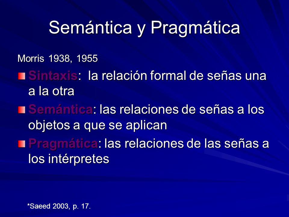 Semántica y Pragmática Morris 1938, 1955 Sintaxis: la relación formal de señas una a la otra Semántica: las relaciones de señas a los objetos a que se aplican Pragmática: las relaciones de las señas a los intérpretes *Saeed 2003, p.