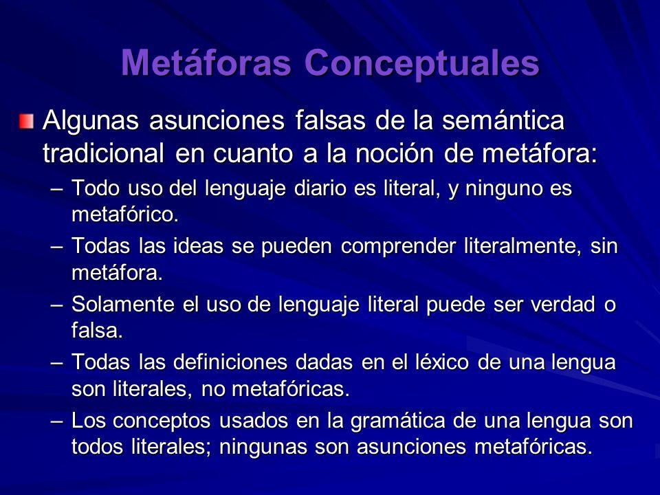 Metáforas Conceptuales Algunas asunciones falsas de la semántica tradicional en cuanto a la noción de metáfora: –Todo uso del lenguaje diario es literal, y ninguno es metafórico.