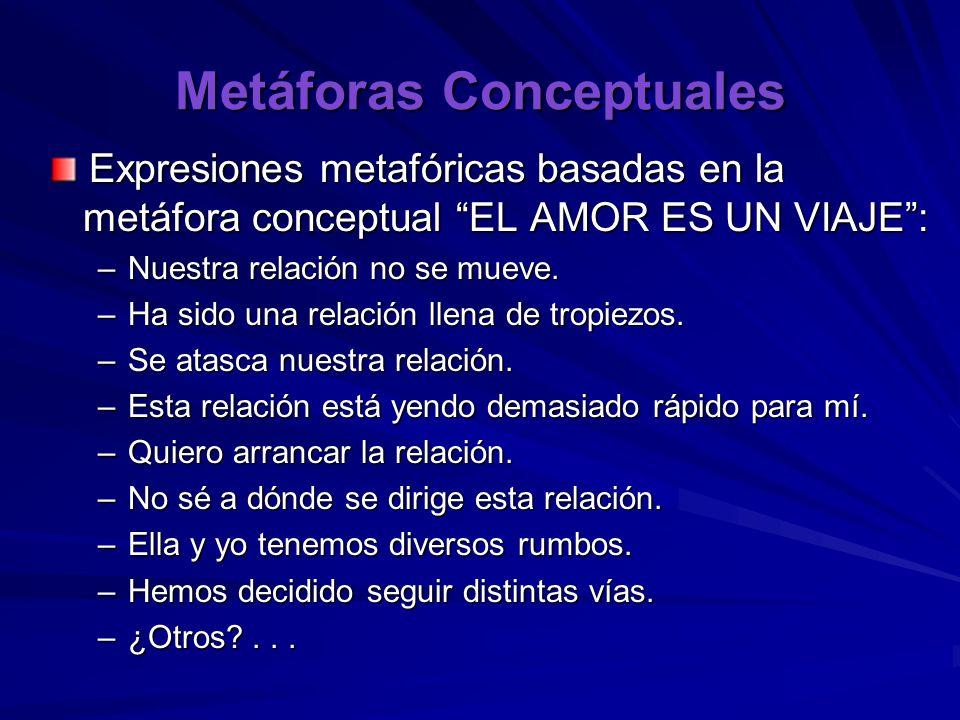 Metáforas Conceptuales Expresiones metafóricas basadas en la metáfora conceptual EL AMOR ES UN VIAJE: Expresiones metafóricas basadas en la metáfora conceptual EL AMOR ES UN VIAJE: –Nuestra relación no se mueve.