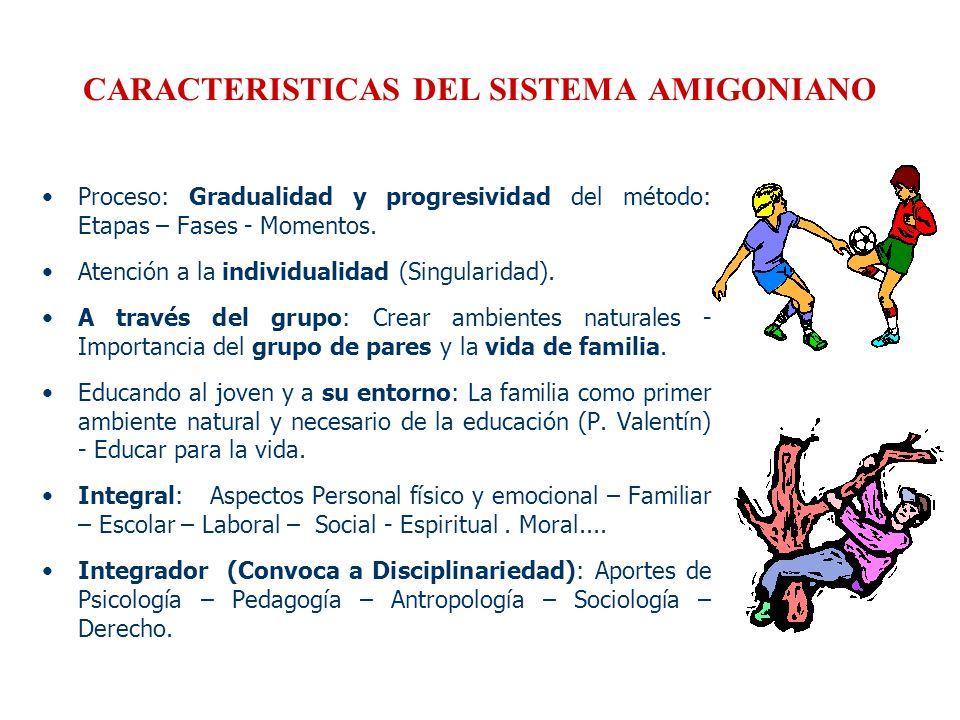 CARACTERISTICAS DEL SISTEMA AMIGONIANO Proceso: Gradualidad y progresividad del método: Etapas – Fases - Momentos. Atención a la individualidad (Singu
