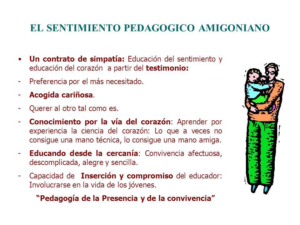 EL SENTIMIENTO PEDAGOGICO AMIGONIANO Un contrato de simpatía: Educación del sentimiento y educación del corazón a partir del testimonio: -Preferencia