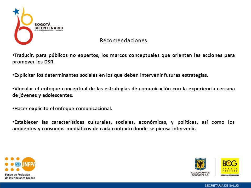 Recomendaciones Traducir, para públicos no expertos, los marcos conceptuales que orientan las acciones para promover los DSR. Explicitar los determina
