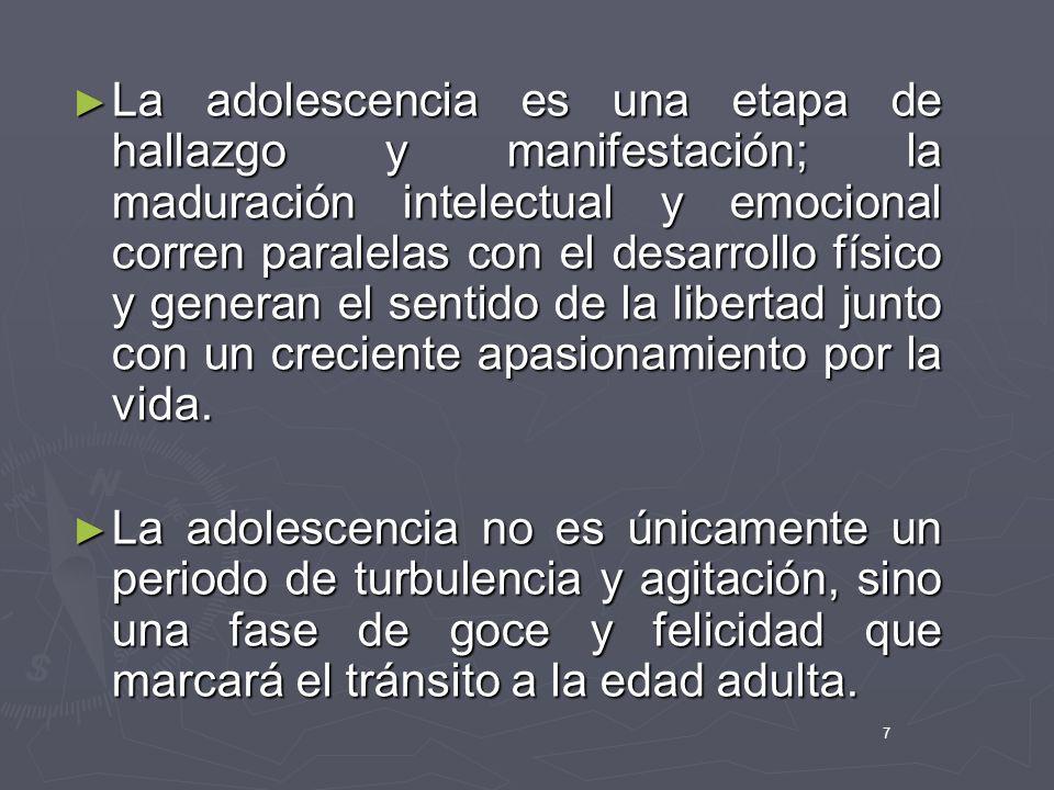 7 La adolescencia es una etapa de hallazgo y manifestación; la maduración intelectual y emocional corren paralelas con el desarrollo físico y generan
