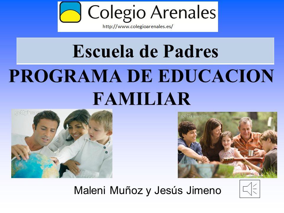 PROGRAMA DE EDUCACION FAMILIAR Maleni Muñoz y Jesús Jimeno Escuela de Padres