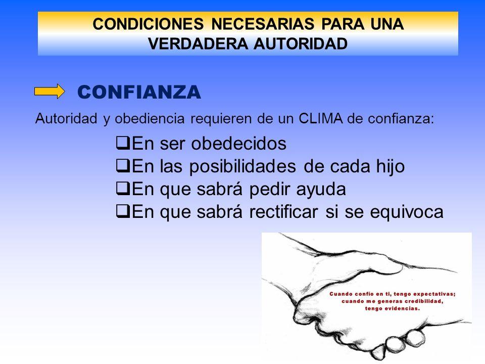 CONDICIONES NECESARIAS PARA UNA VERDADERA AUTORIDAD CONFIANZA Autoridad y obediencia requieren de un CLIMA de confianza: En ser obedecidos En las posi