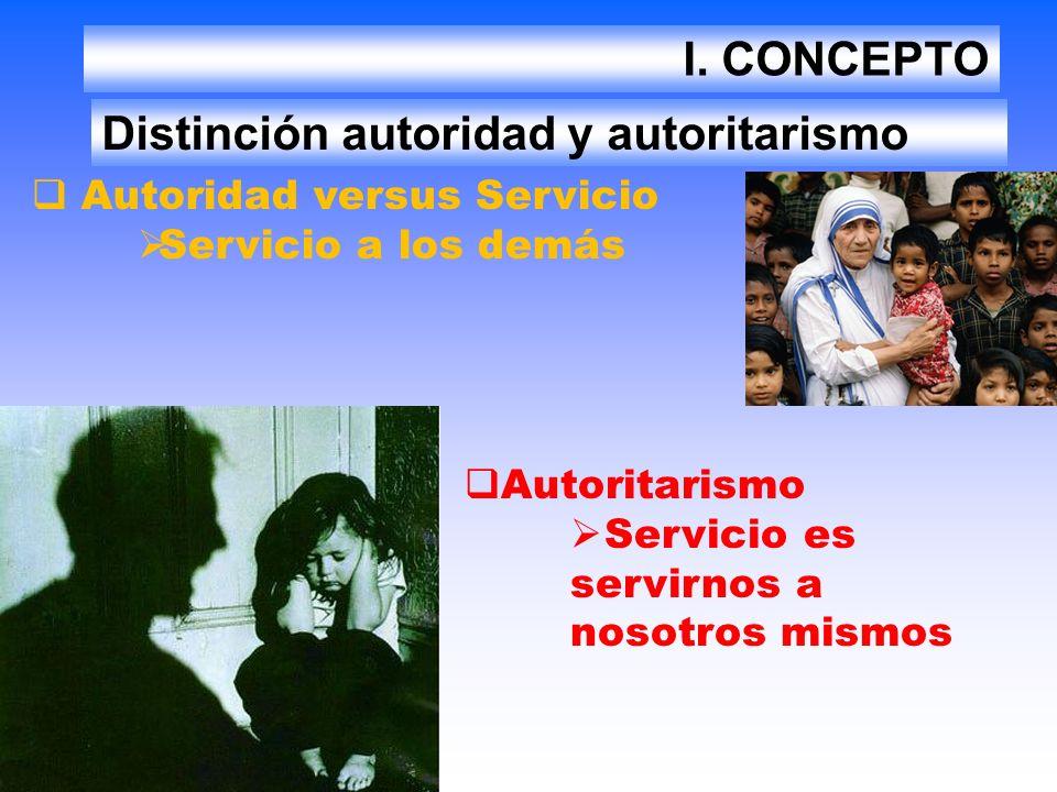 I. CONCEPTO Distinción autoridad y autoritarismo Autoridad versus Servicio Servicio a los demás Autoritarismo Servicio es servirnos a nosotros mismos