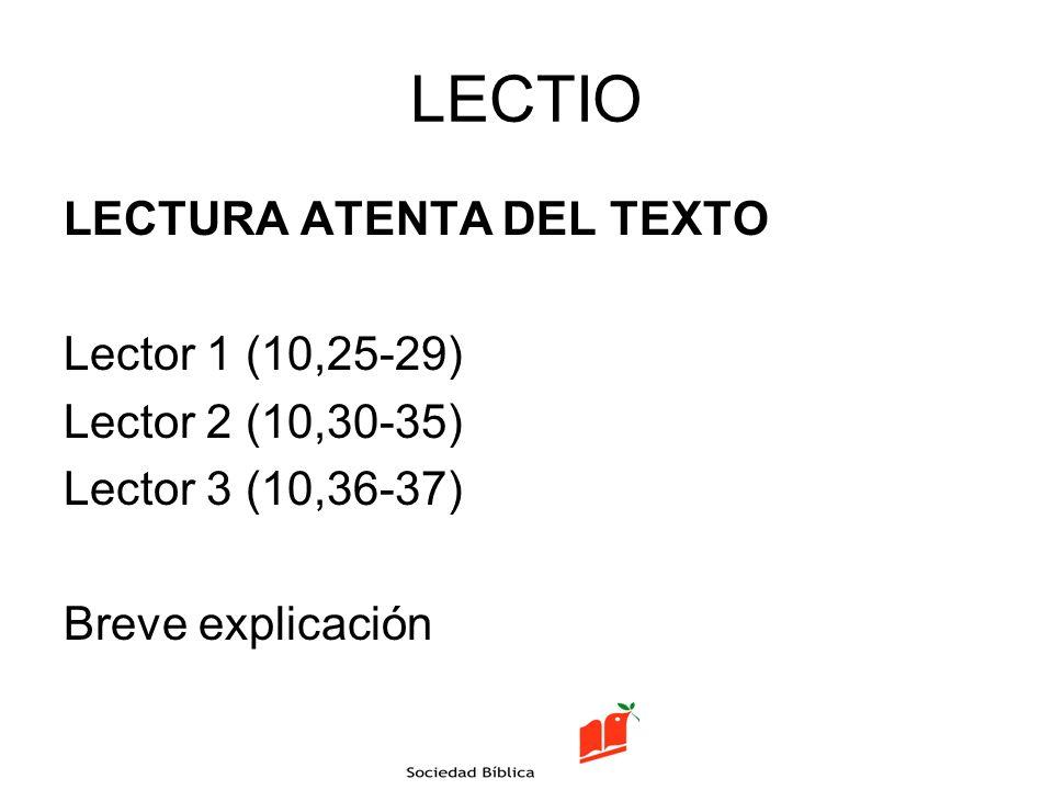 LECTIO LECTURA ATENTA DEL TEXTO Lector 1 (10,25-29) Lector 2 (10,30-35) Lector 3 (10,36-37) Breve explicación
