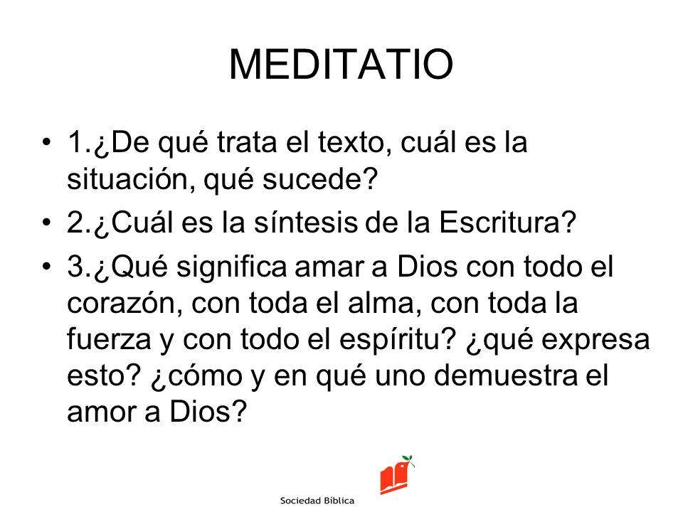 MEDITATIO 1.¿De qué trata el texto, cuál es la situación, qué sucede? 2.¿Cuál es la síntesis de la Escritura? 3.¿Qué significa amar a Dios con todo el
