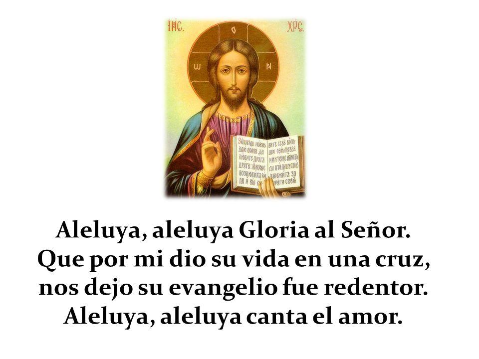 Aleluya, aleluya Gloria al Señor. Que por mi dio su vida en una cruz, nos dejo su evangelio fue redentor. Aleluya, aleluya canta el amor.