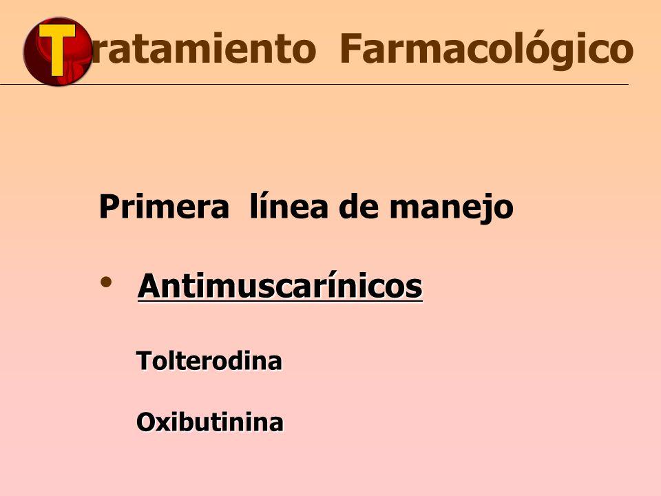 ratamiento Farmacológico Primera línea de manejo Antimuscarínicos Tolterodina Tolterodina Oxibutinina Oxibutinina