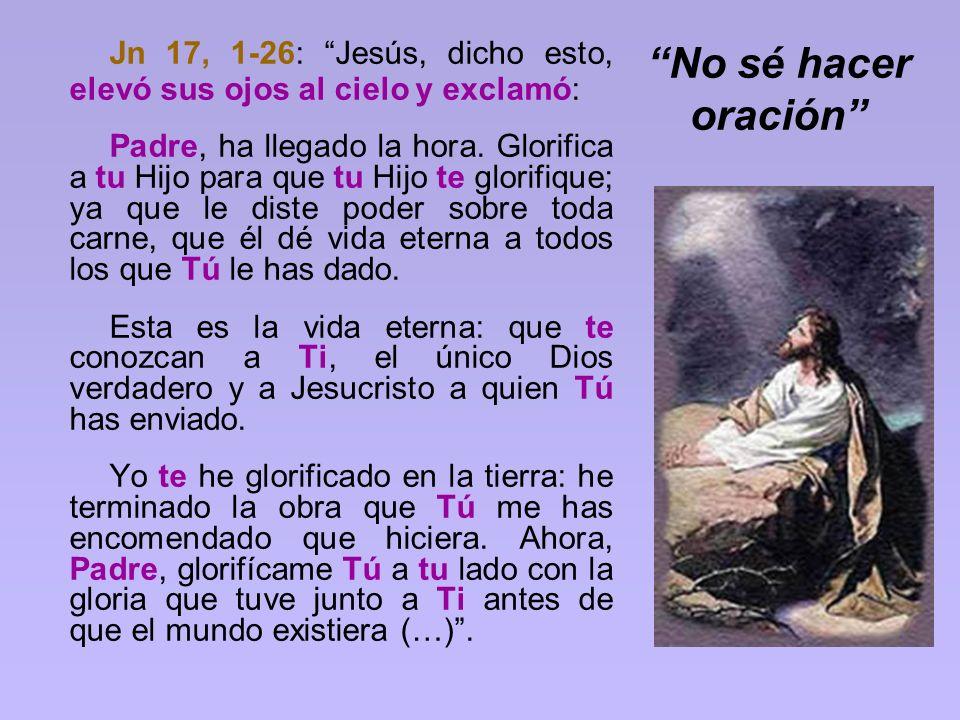 No sé hacer oración Jn 17, 1-26: Jesús, dicho esto, elevó sus ojos al cielo y exclamó: Padre, ha llegado la hora. Glorifica a tu Hijo para que tu Hijo