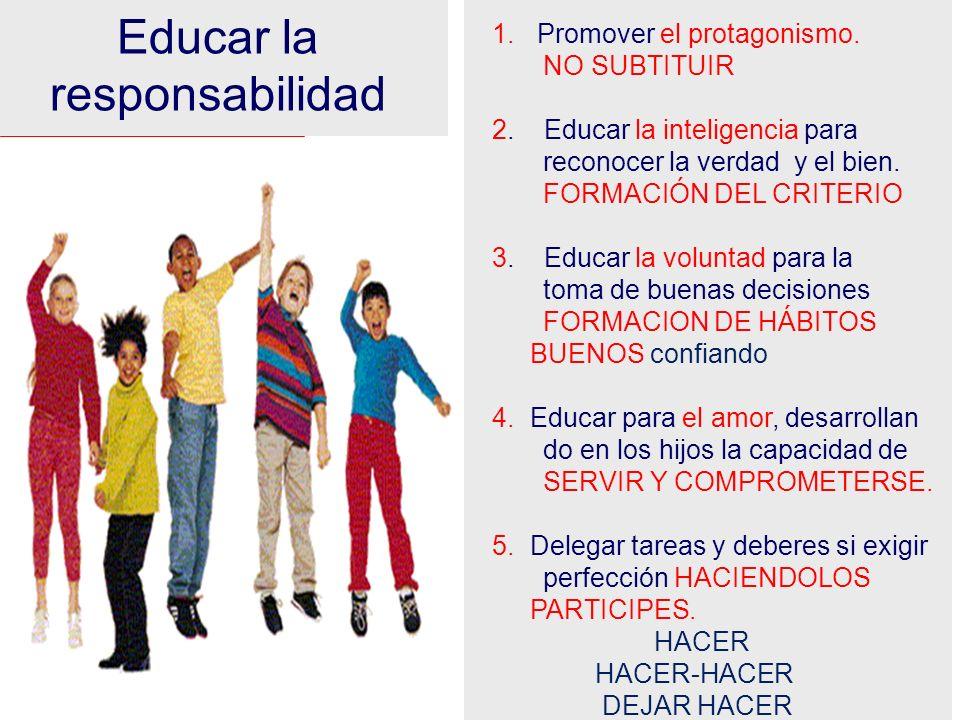 Educar la responsabilidad 1.Promover el protagonismo.