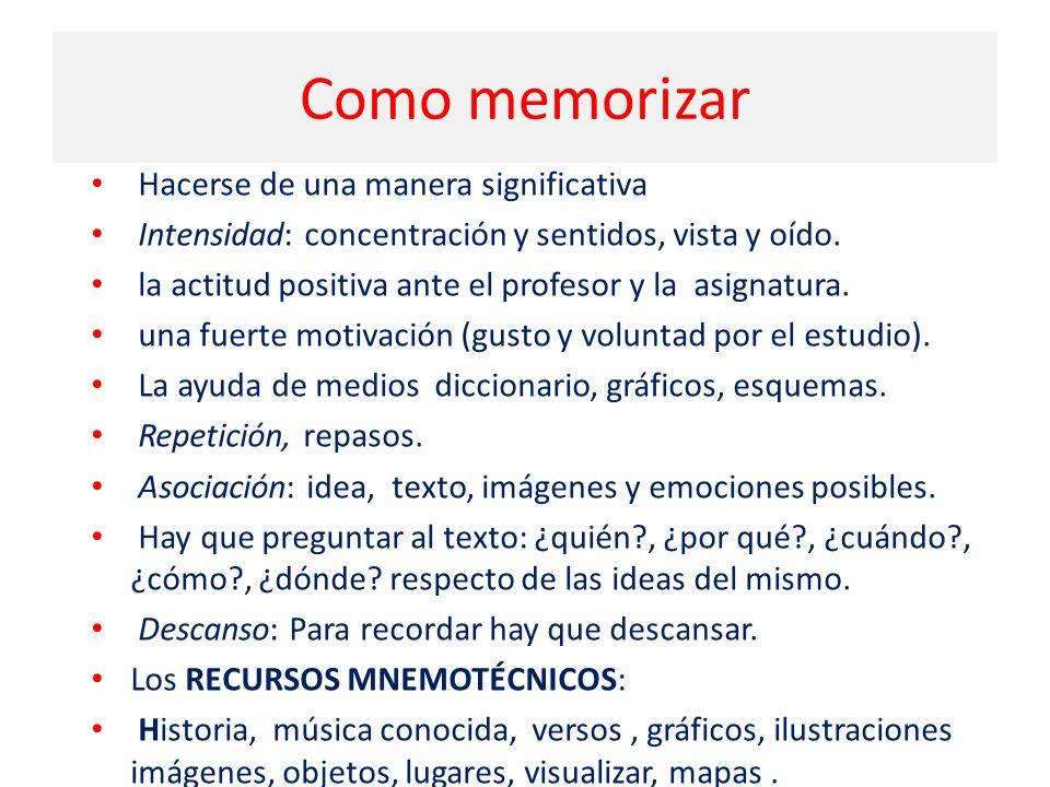 Como memorizar Hacerse de una manera significativa Intensidad: concentración y sentidos, vista y oído.
