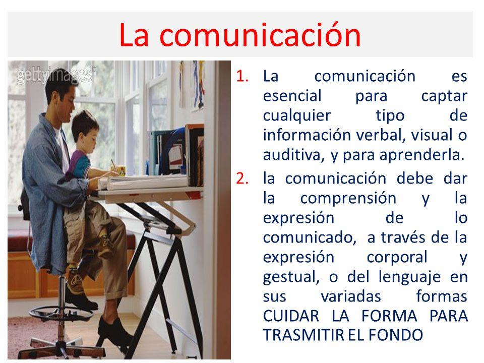 La comunicación 1.La comunicación es esencial para captar cualquier tipo de información verbal, visual o auditiva, y para aprenderla. 2.la comunicació