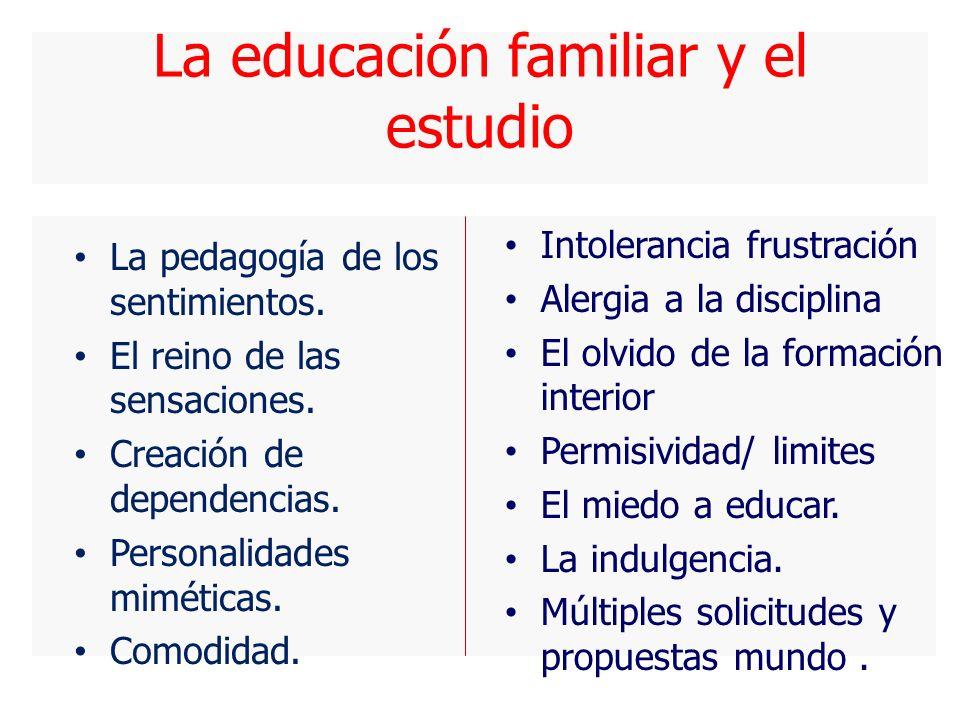 La educación familiar y el estudio La pedagogía de los sentimientos.