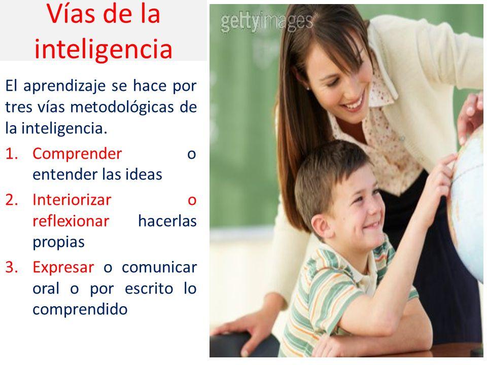 Vías de la inteligencia El aprendizaje se hace por tres vías metodológicas de la inteligencia.
