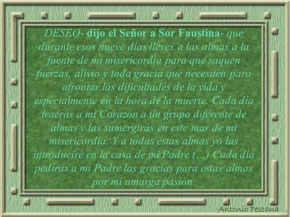 DESEO- dijo el Señor a Sor Faustina- que durante esos nueve días lleves a las almas a la fuente de mi misericordia para que saquen fuerzas, alivio y toda gracia que necesiten para afrontar las dificultades de la vida y especialmente en la hora de la muerte.
