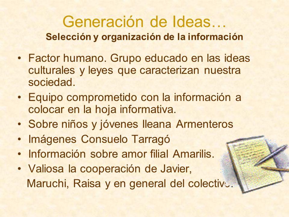 Generación de Ideas… Selección y organización de la información Factor humano. Grupo educado en las ideas culturales y leyes que caracterizan nuestra