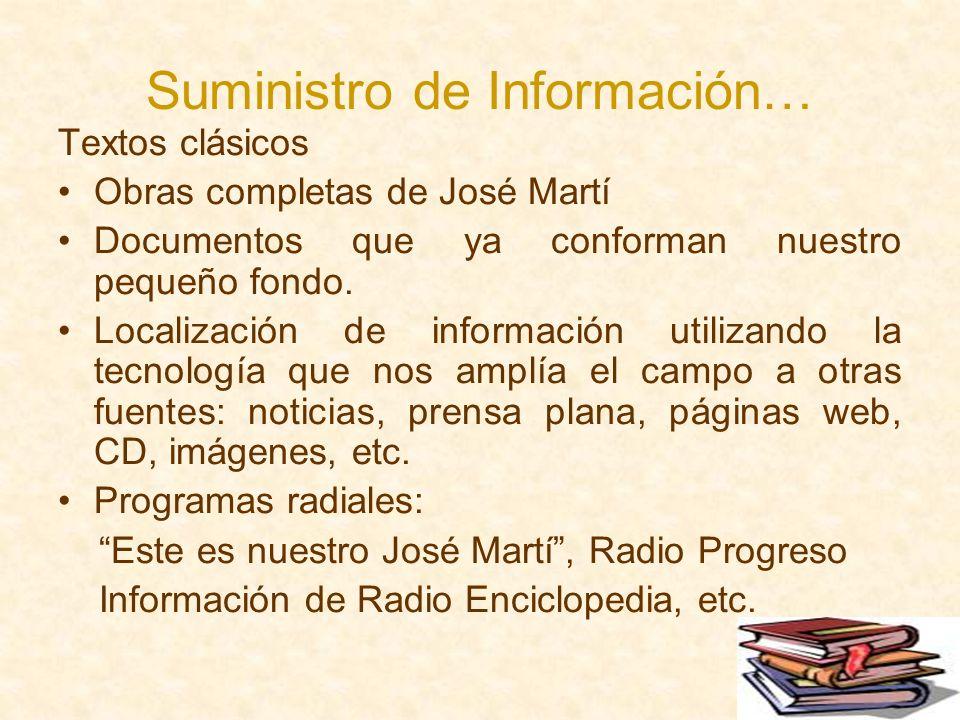 Suministro de Información… Textos clásicos Obras completas de José Martí Documentos que ya conforman nuestro pequeño fondo. Localización de informació