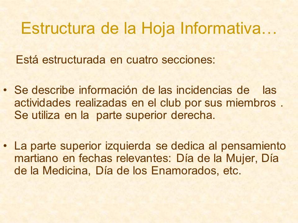 Estructura de la Hoja Informativa… Está estructurada en cuatro secciones: Se describe información de las incidencias de las actividades realizadas en