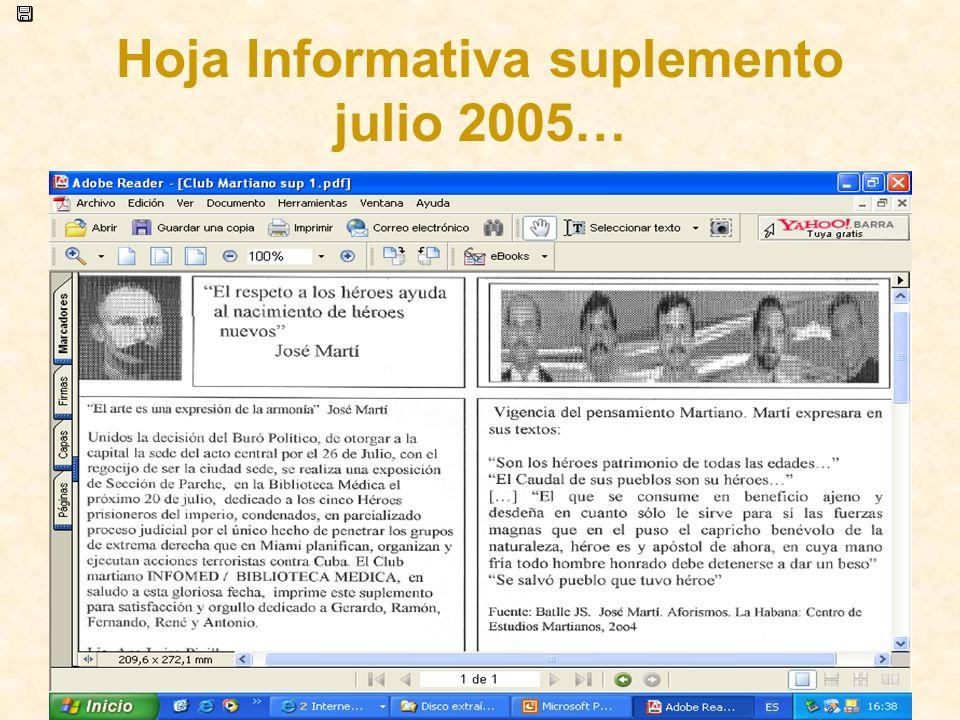 Hoja Informativa suplemento julio 2005…