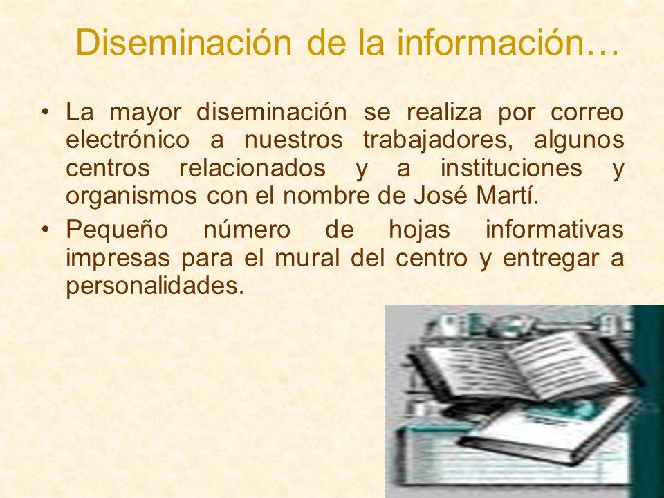 Diseminación de la información… La mayor diseminación se realiza por correo electrónico a nuestros trabajadores, algunos centros relacionados y a inst