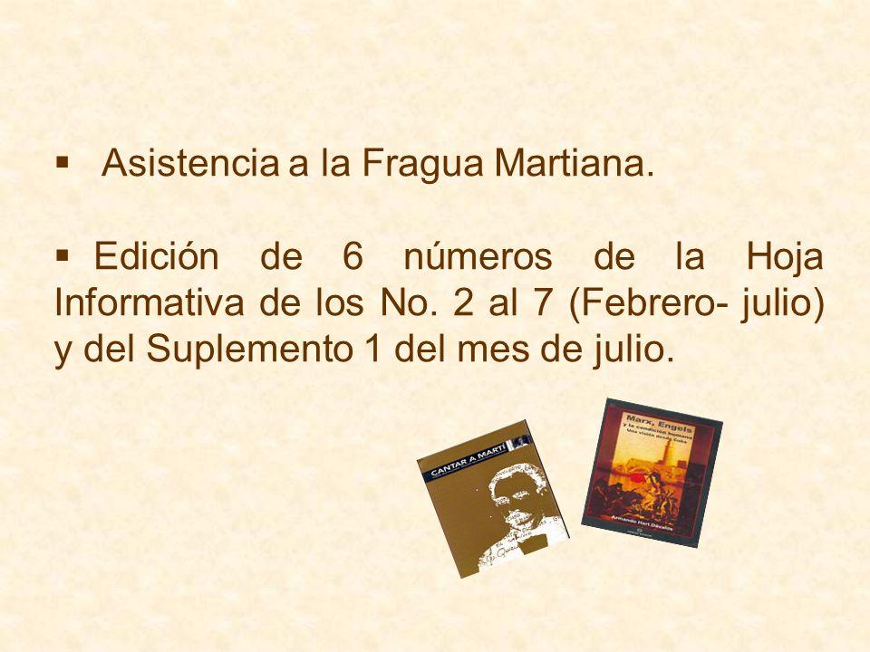 Asistencia a la Fragua Martiana. Edición de 6 números de la Hoja Informativa de los No. 2 al 7 (Febrero- julio) y del Suplemento 1 del mes de julio.