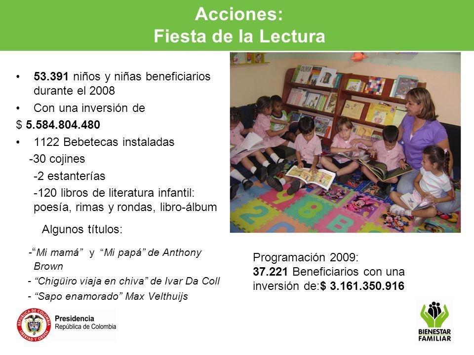 Acciones: Fiesta de la Lectura a la Primera Infancia 53.391 niños y niñas beneficiarios durante el 2008 Con una inversión de $ 5.584.804.480 1122 Bebe
