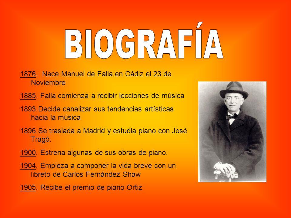1876. Nace Manuel de Falla en Cádiz el 23 de Noviembre 1885. Falla comienza a recibir lecciones de música 1893.Decide canalizar sus tendencias artísti