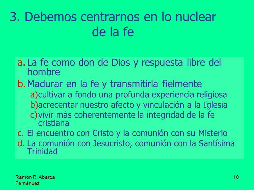Ramón R. Abarca Fernández 10 a.La fe como don de Dios y respuesta libre del hombre b.Madurar en la fe y transmitirla fielmente a)cultivar a fondo una
