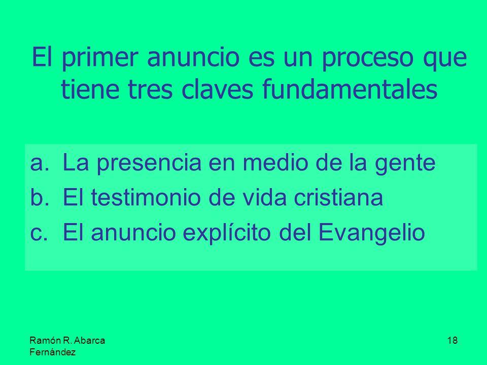 Ramón R. Abarca Fernández 18 El primer anuncio es un proceso que tiene tres claves fundamentales a.La presencia en medio de la gente b.El testimonio d
