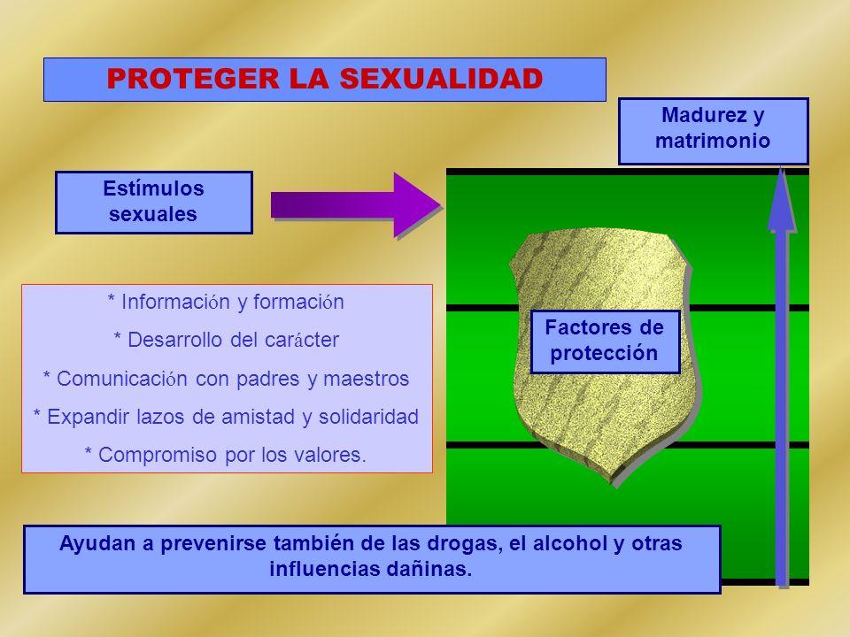 PROTEGER LA SEXUALIDAD Estímulos sexuales Factores de protección Madurez y matrimonio * Informaci ó n y formaci ó n * Desarrollo del car á cter * Comu