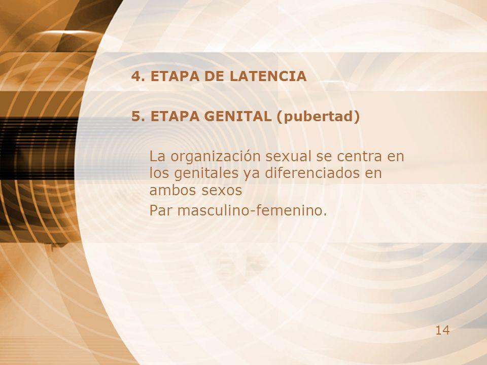 14 4. ETAPA DE LATENCIA 5. ETAPA GENITAL (pubertad) La organización sexual se centra en los genitales ya diferenciados en ambos sexos Par masculino-fe