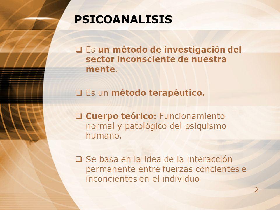 2 PSICOANALISIS Es un método de investigación del sector inconsciente de nuestra mente. Es un método terapéutico. Cuerpo teórico: Funcionamiento norma