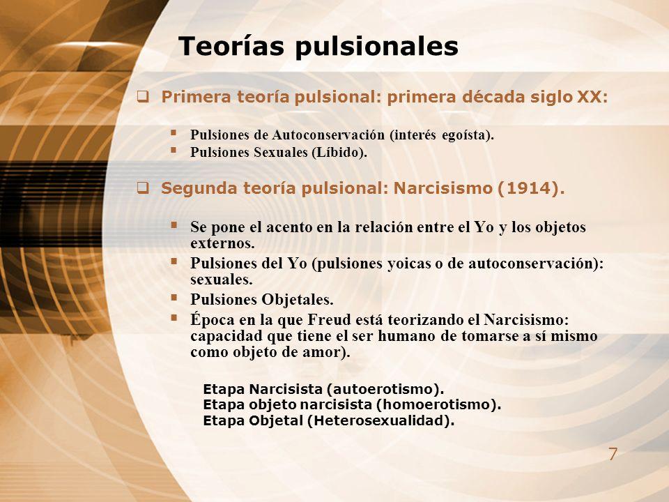 7 Teorías pulsionales Primera teoría pulsional: primera década siglo XX: Pulsiones de Autoconservación (interés egoísta). Pulsiones Sexuales (Líbido).
