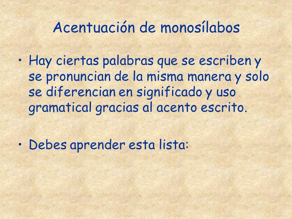 Acentuación de monosílabos Hay ciertas palabras que se escriben y se pronuncian de la misma manera y solo se diferencian en significado y uso gramatic