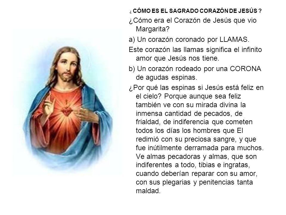 ¿ CÓMO ES EL SAGRADO CORAZÓN DE JESÚS ? ¿Cómo era el Corazón de Jesús que vio Margarita? a) Un corazón coronado por LLAMAS. Este corazón las llamas si