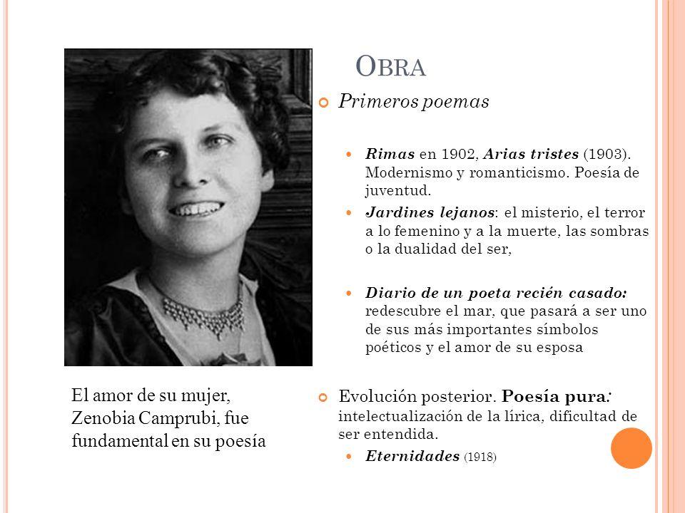 O BRA Primeros poemas Rimas en 1902, Arias tristes (1903). Modernismo y romanticismo. Poesía de juventud. Jardines lejanos : el misterio, el terror a
