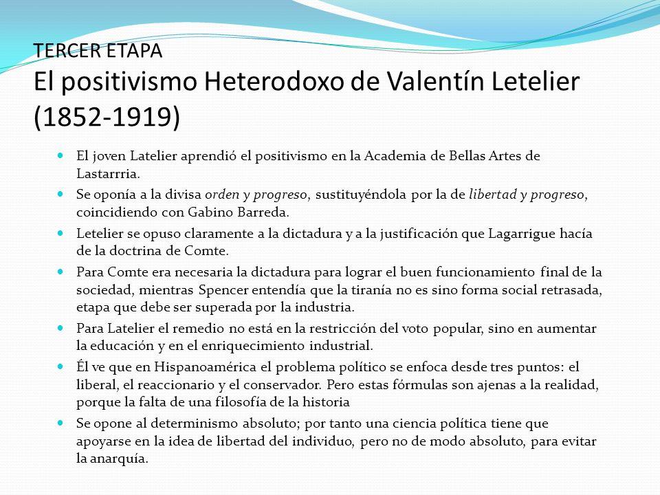 El joven Latelier aprendió el positivismo en la Academia de Bellas Artes de Lastarrria. Se oponía a la divisa orden y progreso, sustituyéndola por la