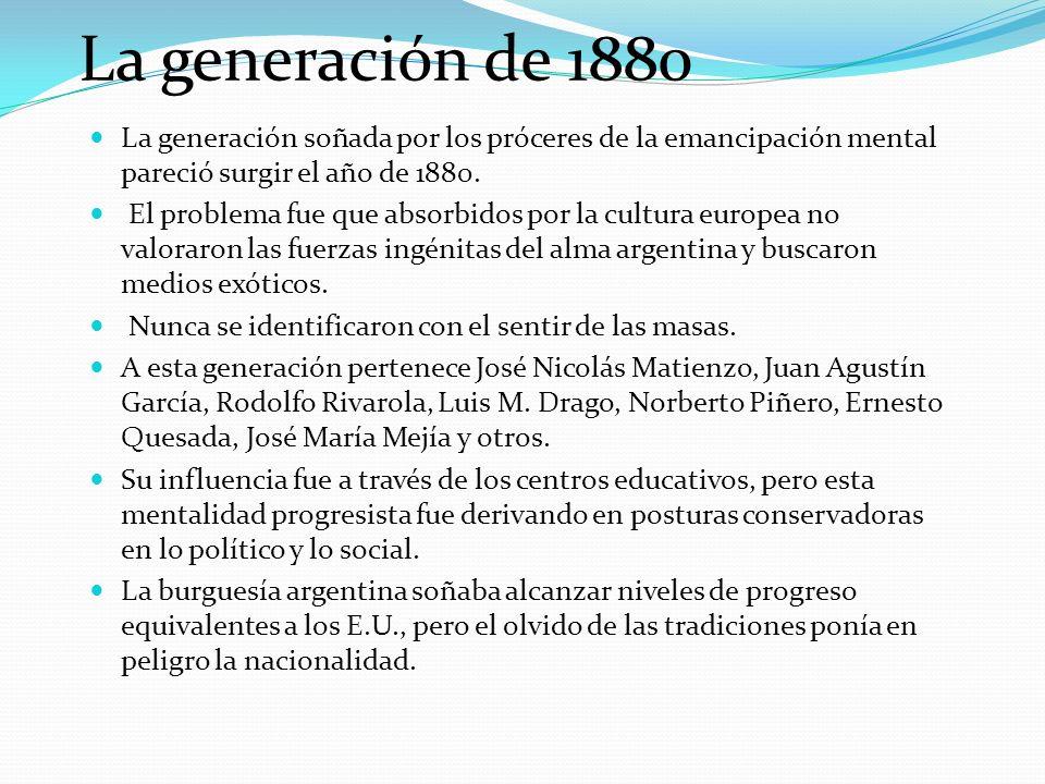 La generación de 1880 La generación soñada por los próceres de la emancipación mental pareció surgir el año de 1880. El problema fue que absorbidos po