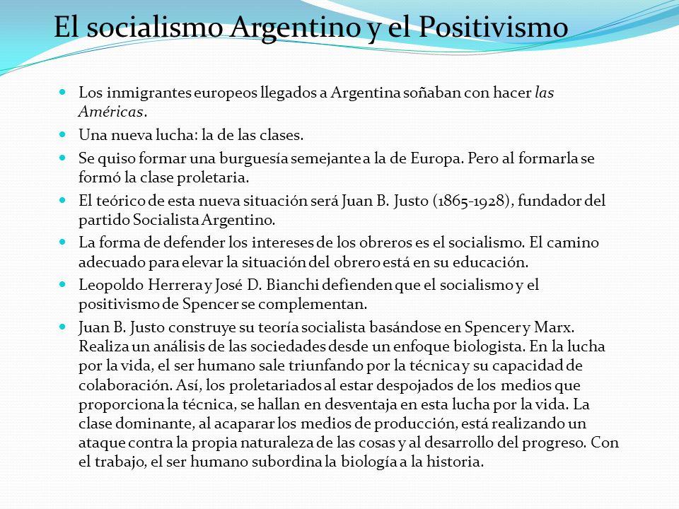El socialismo Argentino y el Positivismo Los inmigrantes europeos llegados a Argentina soñaban con hacer las Américas. Una nueva lucha: la de las clas