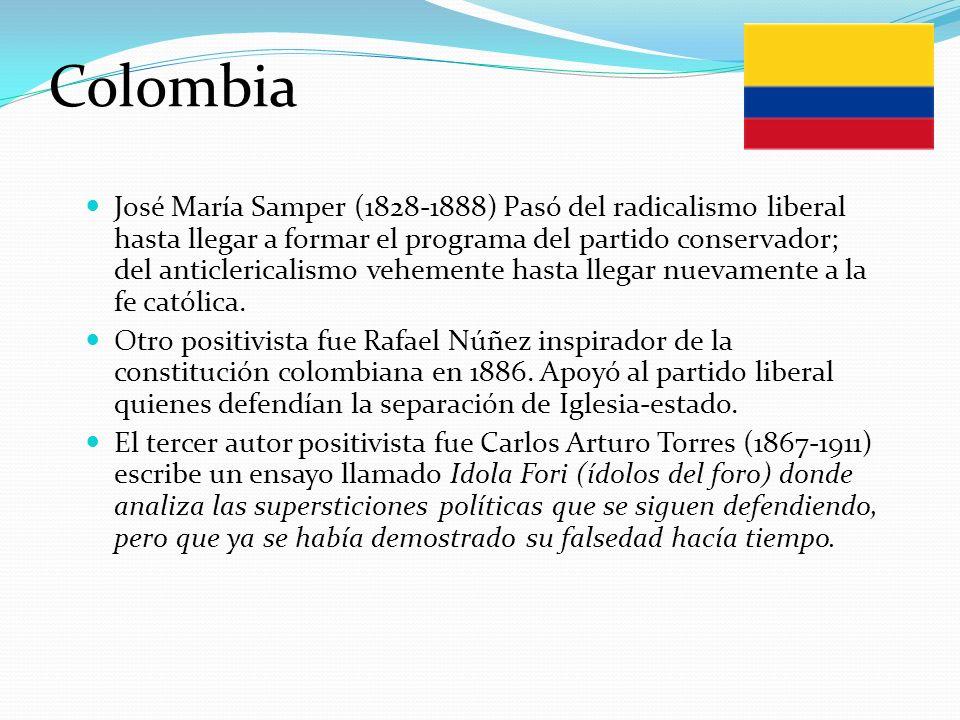 Colombia José María Samper (1828-1888) Pasó del radicalismo liberal hasta llegar a formar el programa del partido conservador; del anticlericalismo ve