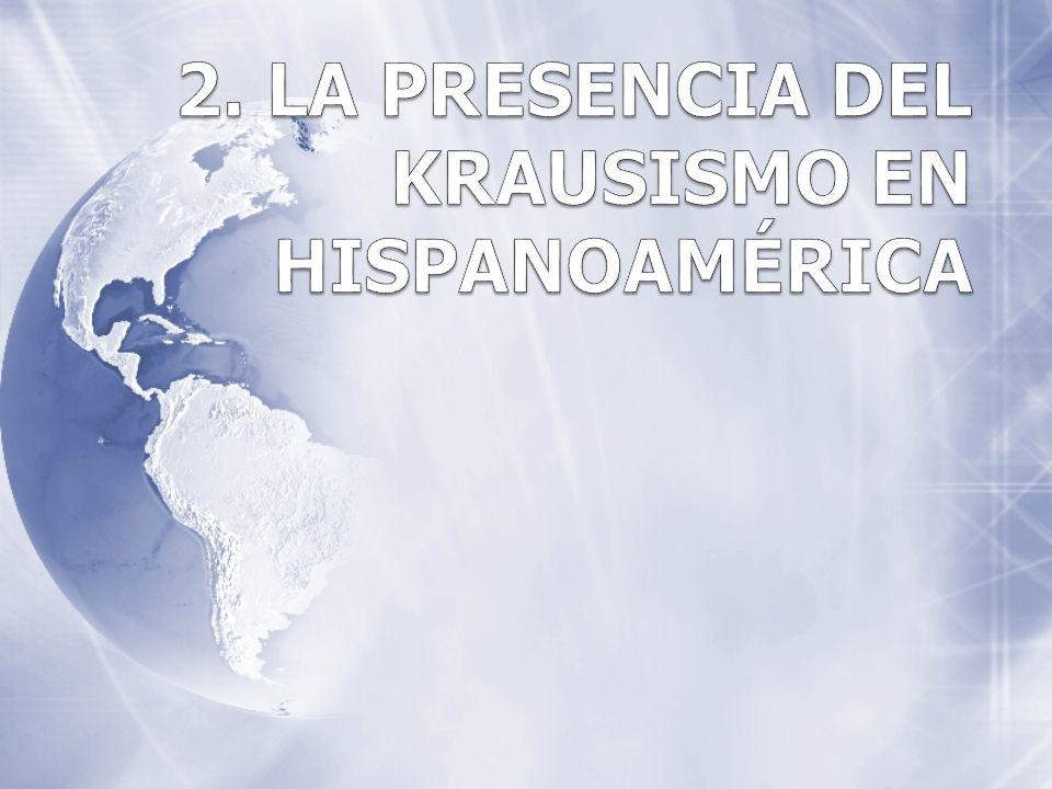 2.1 El Krausismo y la situación hispanoamericana de mitad de siglo XX Después de haber conseguido la independencia, los libertadores intentan implantar regímenes políticos y sociales similares a las naciones europeas.