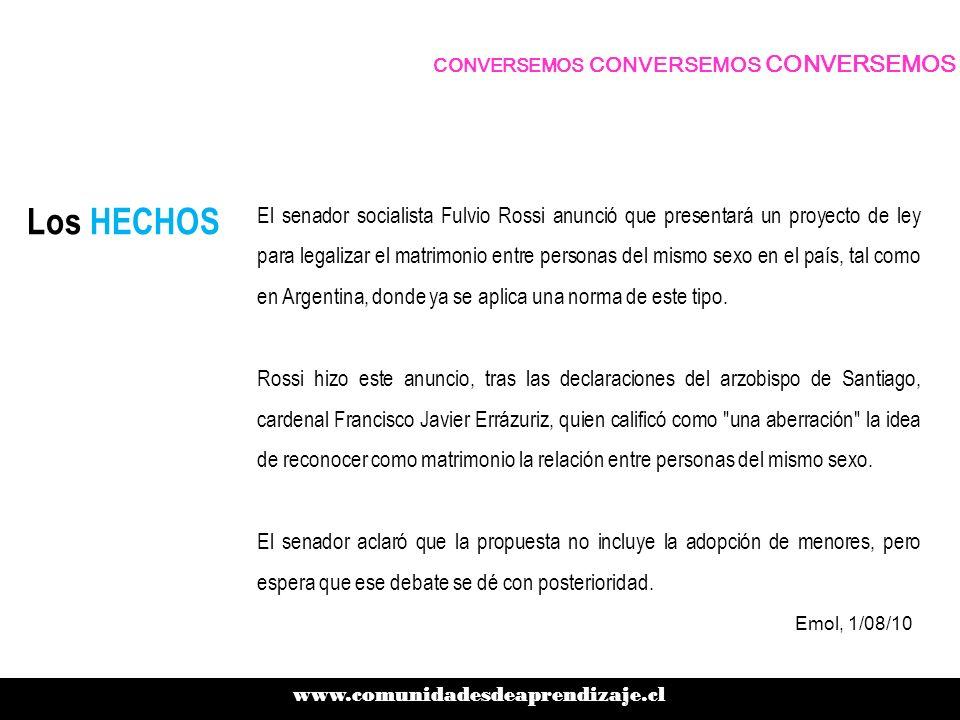 Los HECHOS El senador socialista Fulvio Rossi anunció que presentará un proyecto de ley para legalizar el matrimonio entre personas del mismo sexo en