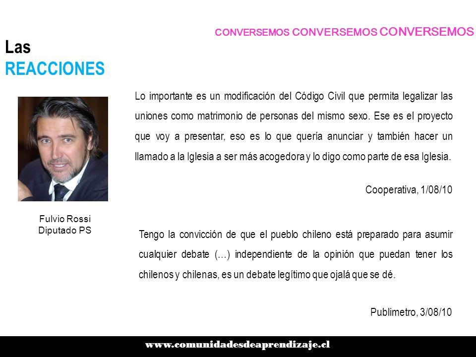 CONVERSEMOS CONVERSEMOS CONVERSEMOS www.comunidadesdeaprendizaje.cl Las REACCIONES Cooperativa, 1/08/10 Lo importante es un modificación del Código Ci